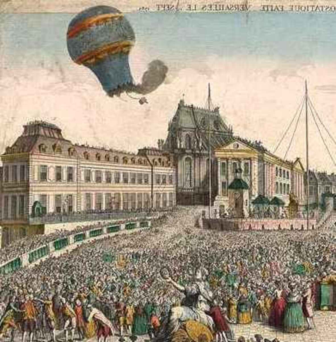 Montgolfier brothers balloon flight Paris street scene