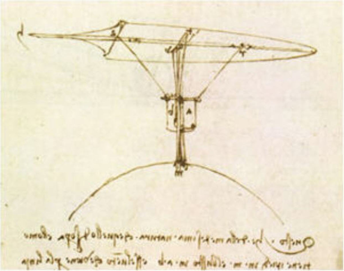 Leonardo da Vinci paintings flying machine