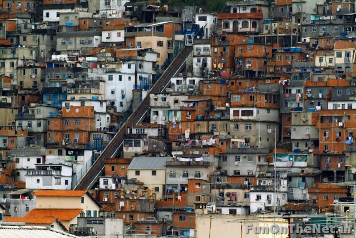 Rio Slums: Picturesque landscapes and breathtaking sights hide a brutal urban battleground and one of the highest crime rates of any metropolitan area in the world. With one-fifth of its population living in slums, and most of the economic activity i
