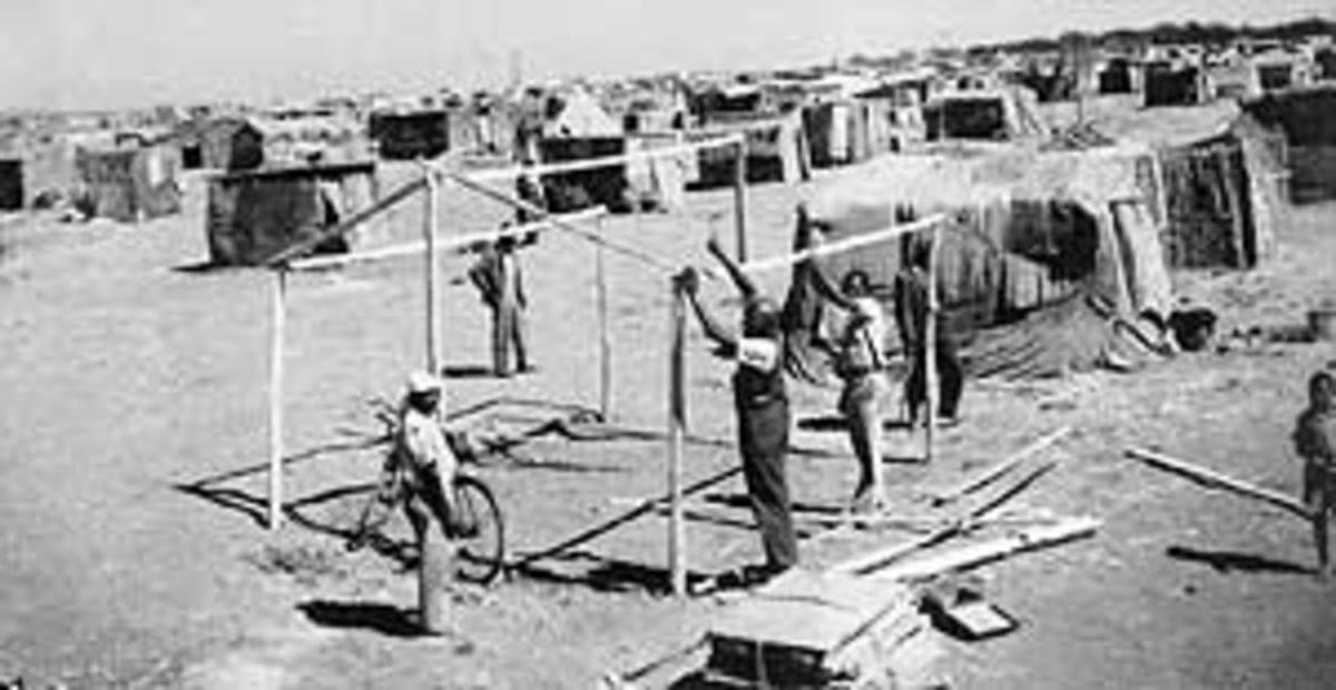 Shack-dwellers building their sack hovels which James Mpanza fought against and got them half-way decent housing