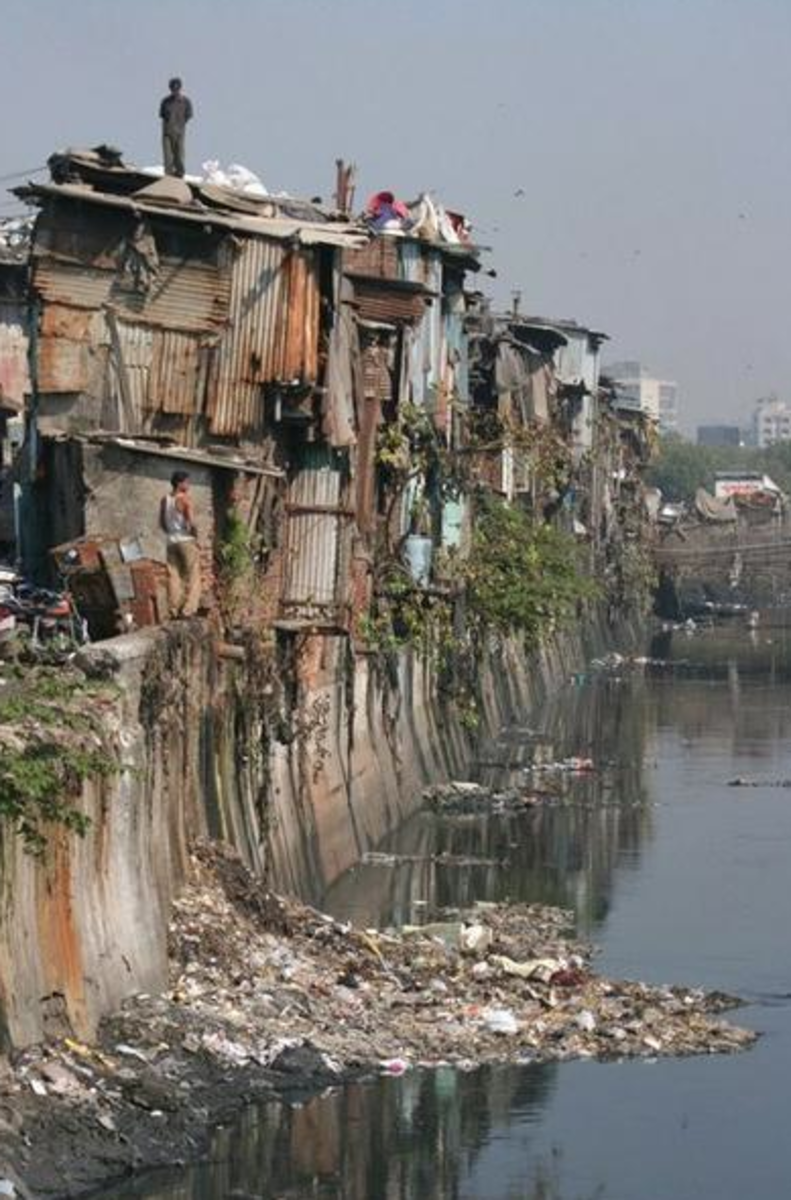 The Dharavi slums of Mumbai, India; It is said to be the largest slum in Asia