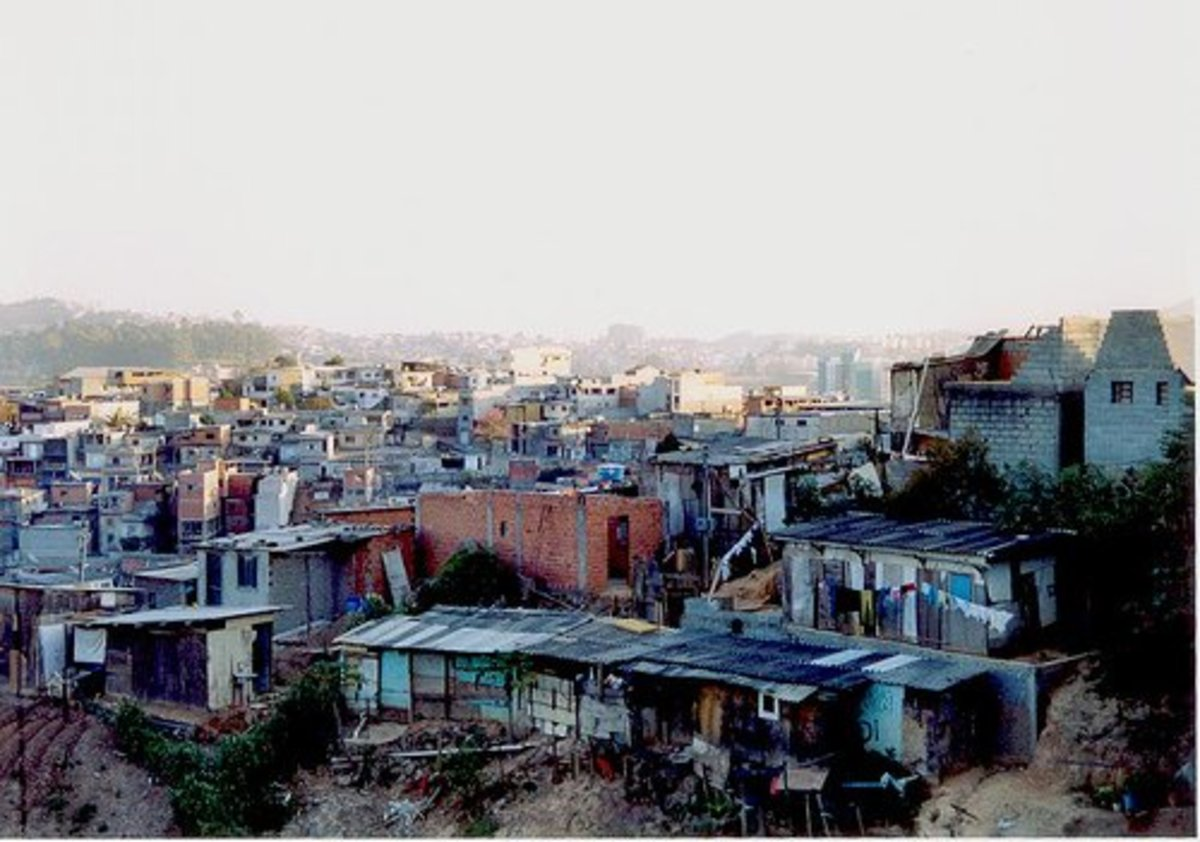 Slums in Sao Paulo. Slums such as these one have more than 35,000 inhabitants