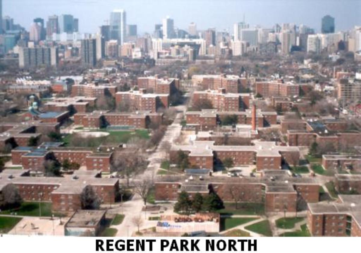 Regent Park North in Toronto, Canada. It is the first and largest public housing project. It is also one of Toronto's worst slums. It qualifies as being the worst slum in North America. It is now in the process of being redeveloped