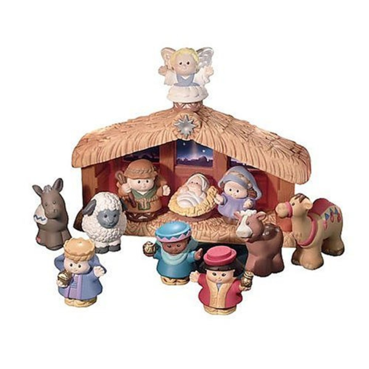 The Fisher Price Nativity features Little People dressed in old world clothing. This durable set is made for little hands to hold.