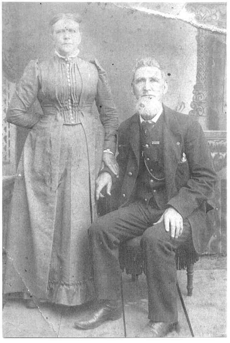 Is the man setting down in this photo the infamous Jack the Ripper. If so his real name is James Kelly. This photo was in with papers I purchased in 1991 at a London Street Market. There was a note identifying the man as James Kelly and Wife.