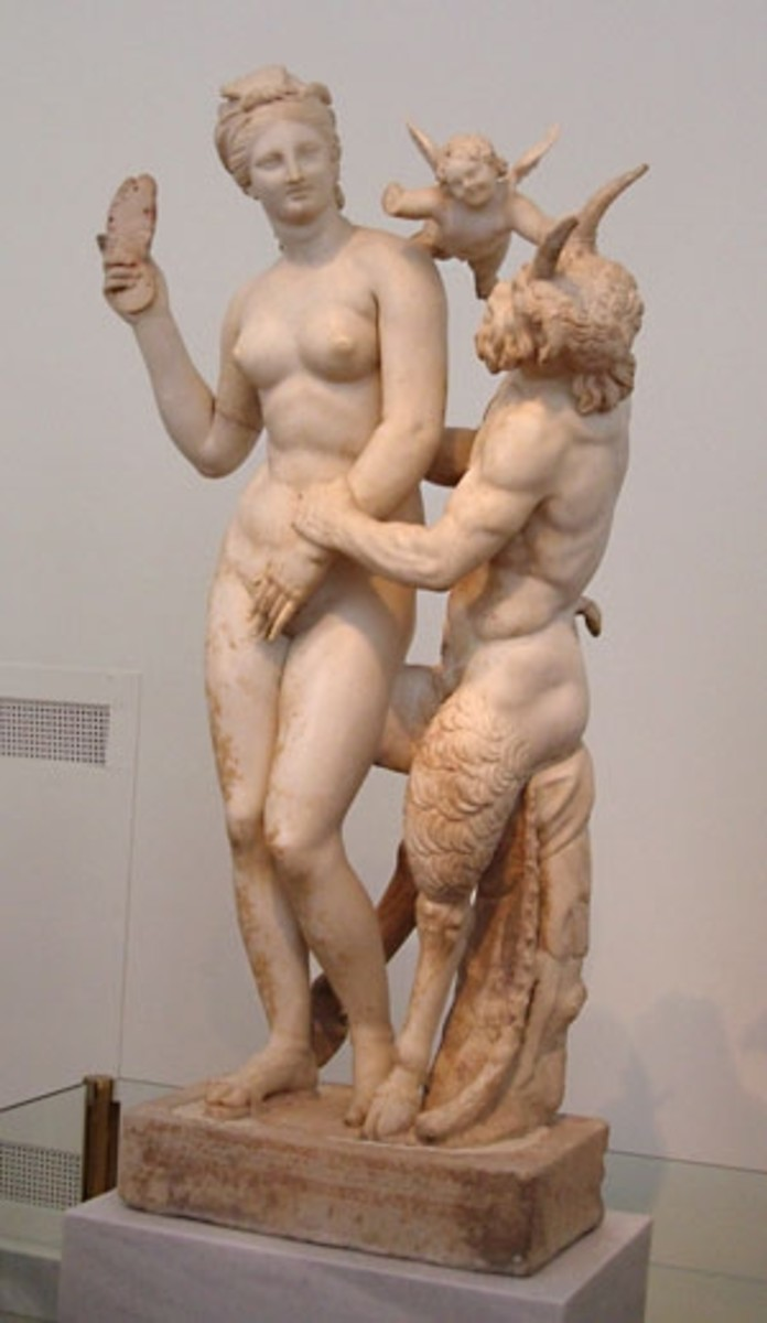 """The Slipper Slapper"" -- Aphrodite, Eros, and Pan. Famous 100BCE statue from the house of a wealthy merchant on Delos (I visit this town later.) Hellenistic can be campy."