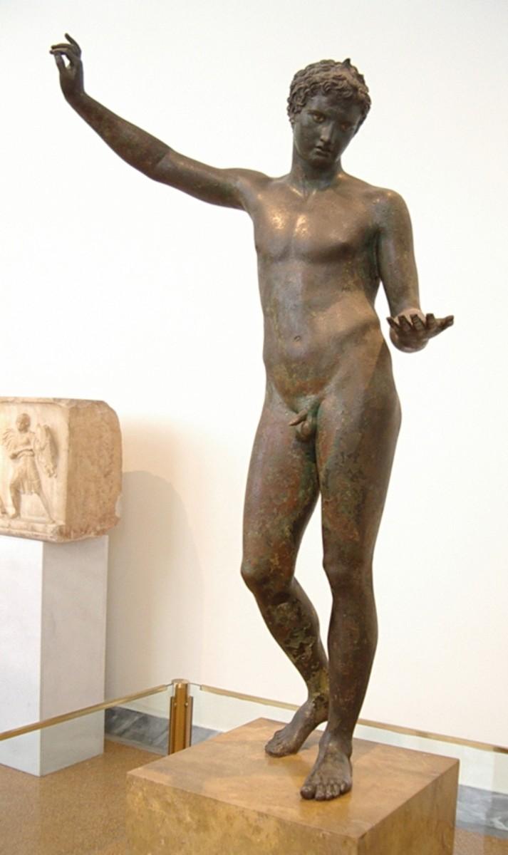 Marathon Boy, perhaps by the famous sculpture Praxiteles, shows the grace and movement of the best of Hellenistic art. c. 325-300 BCE.