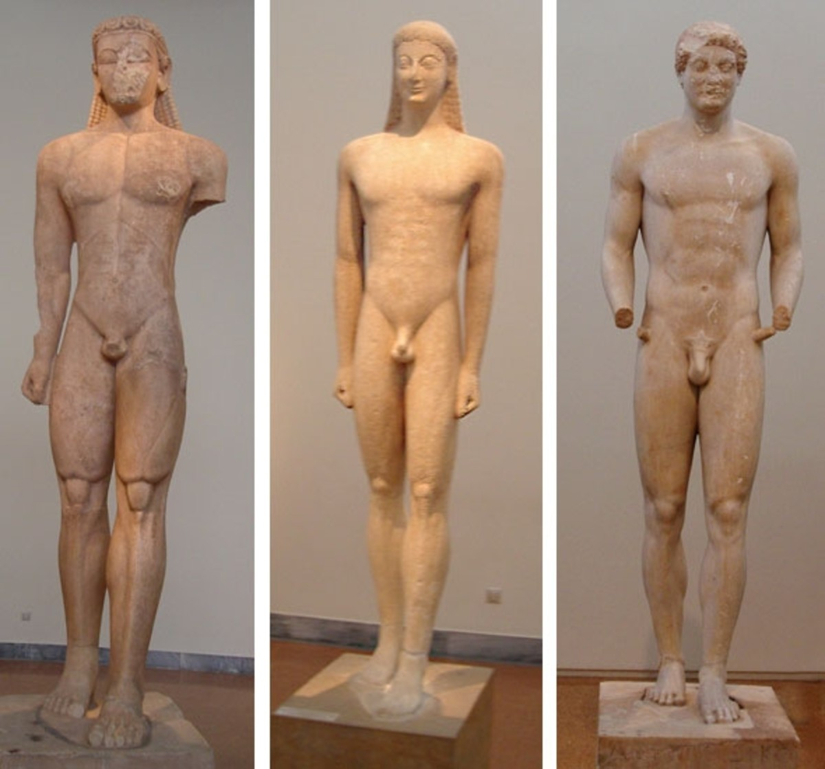 "Archaic period Kouroi, ""youths,"" show how Greek sculptors borrowed from Egypt and slowly developed a new Greek style. Here are: Sounian Kouros, c. 600 BCE, Kouros from Melos, c. 550 BCE, ""Aristodikos"", c 520-480 BCE. They're large, 8-10 feet tall."