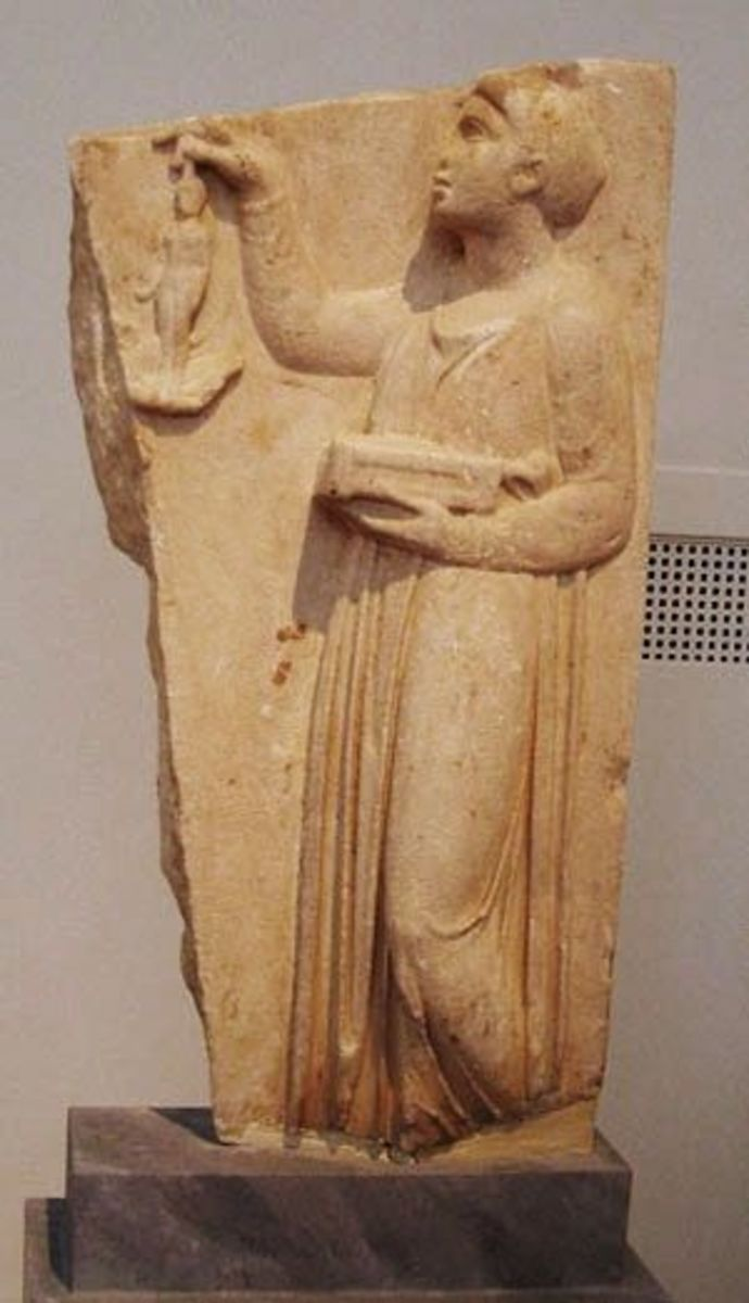 Young girl gives up her doll to Artemis, a ritual that traditionally occurred just before marriage. The gravestone suggests she died at puberty.