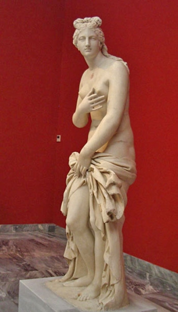 Roman marble copy, slightly over life-sized, 2nd century BCE. Possibly a loose imitation of Praxiteles' Aphrodite of Cnidos, which also inspired the Venus di Milo.