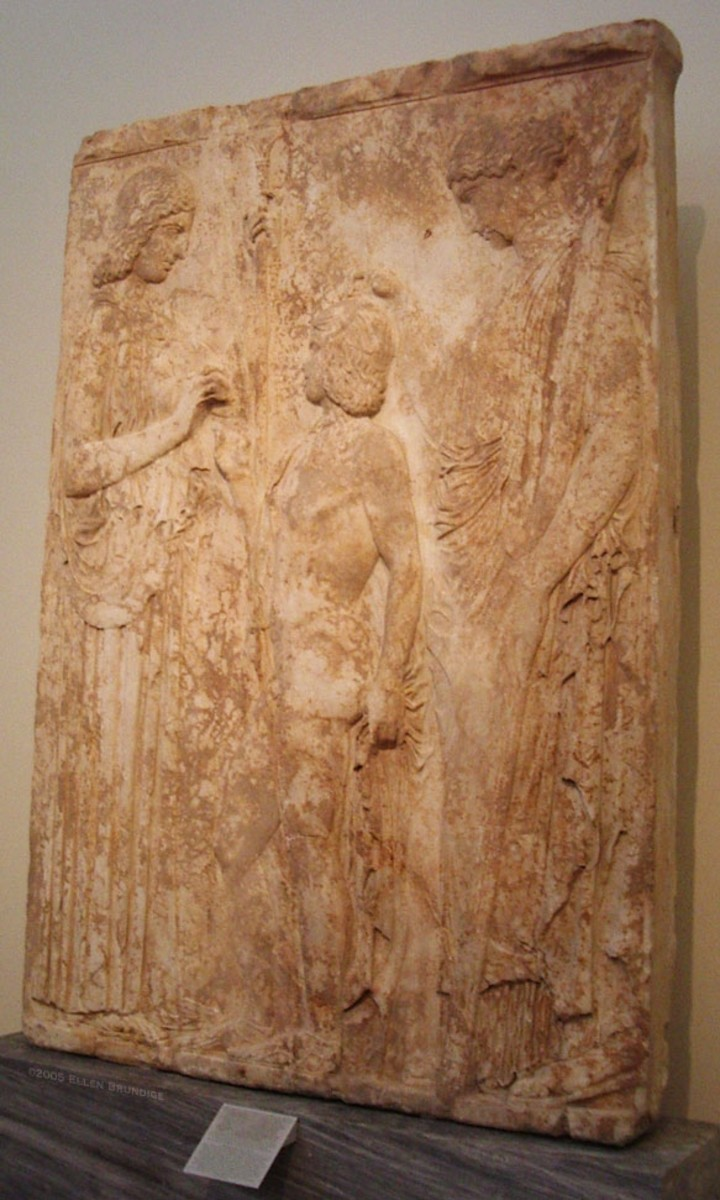 NOT a funerary relief. This huge stone was flipped upside down on the threshold of a church in Eleusis, which we'll visit next. It depicts the mother goddess Demeter and her daughter Kore giving the secret of grain (and farming) to the legendary hero