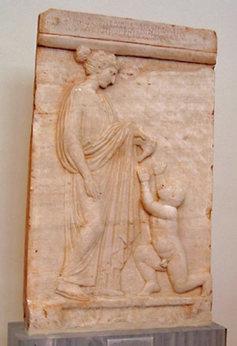 Grave stele, apparently for both mother and child. The woman Mnesagora hold out a dove-- both pet and funerary symbol-- to her infant son. Late 5th c.