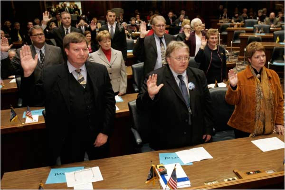 Presidential electors taking the electoral oath in Indiana in 2008. Electors meet in their state capital to cast their electoral vote.