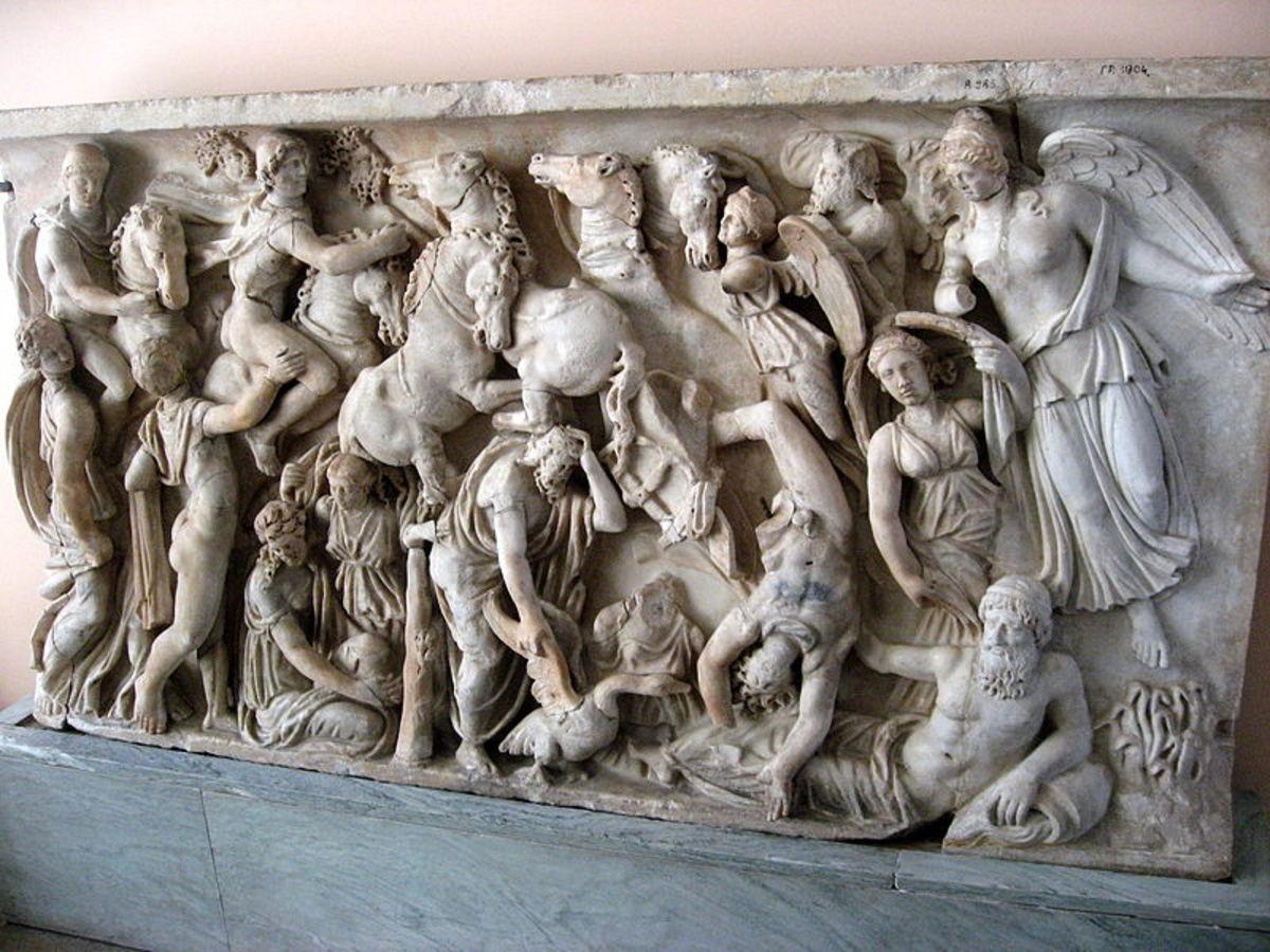Fall of Phaethon, Roman sarcophagus. Photo by Dezidor @ Wikimedia Commons.