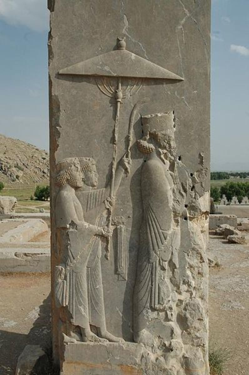 Relief of King Xerxes, ancient palace in his capitol of Persepolis. Modern-day Iran.