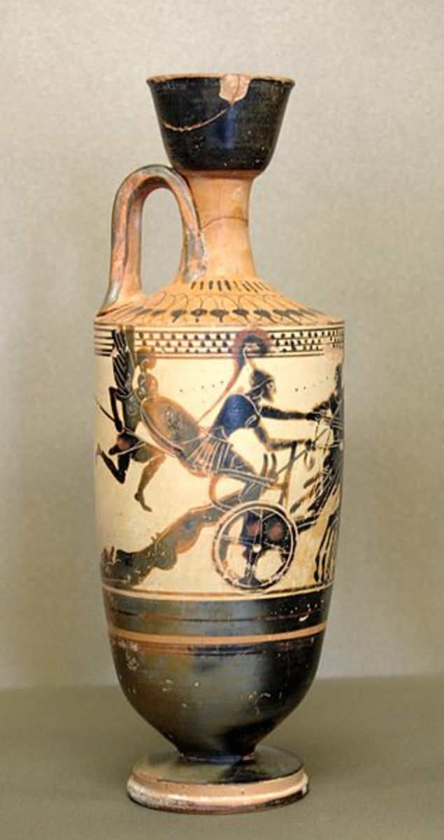 Achilles drags body of Hector, whose spirit rises from his corpse.