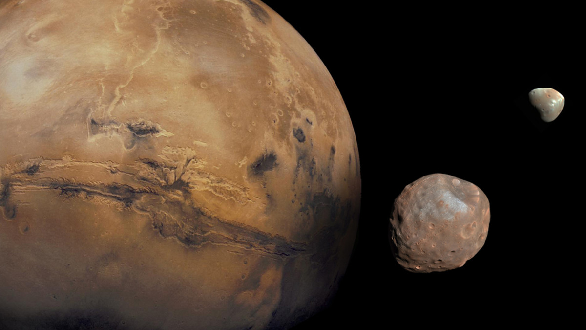 Mars and its moons, Phobos and Deimos