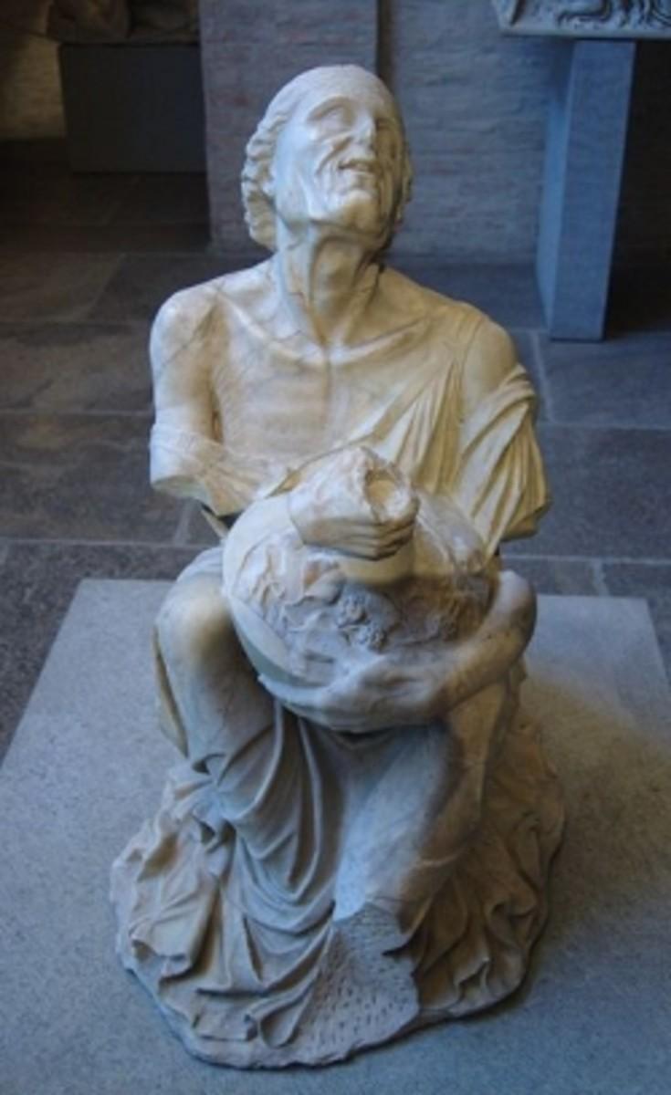 Second century BCE sculpture of a drunken old woman