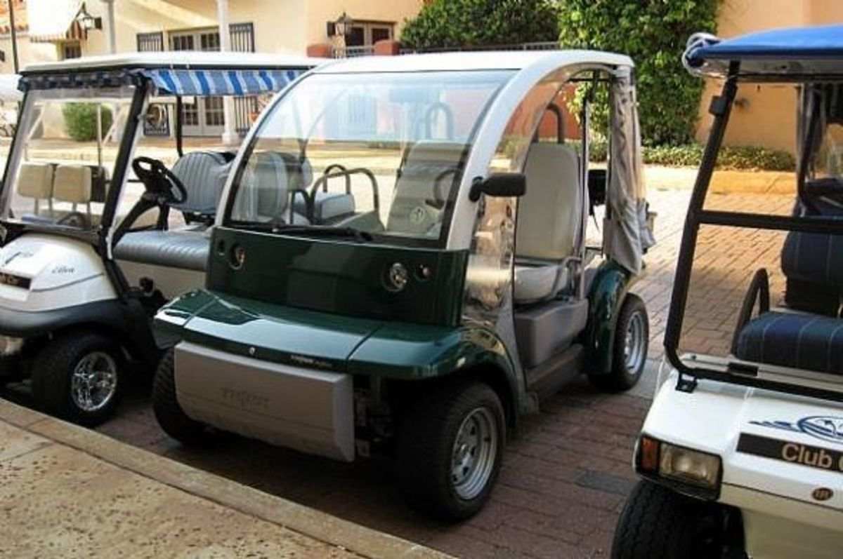 A GEM cart - suitable for street use or on the golf course.