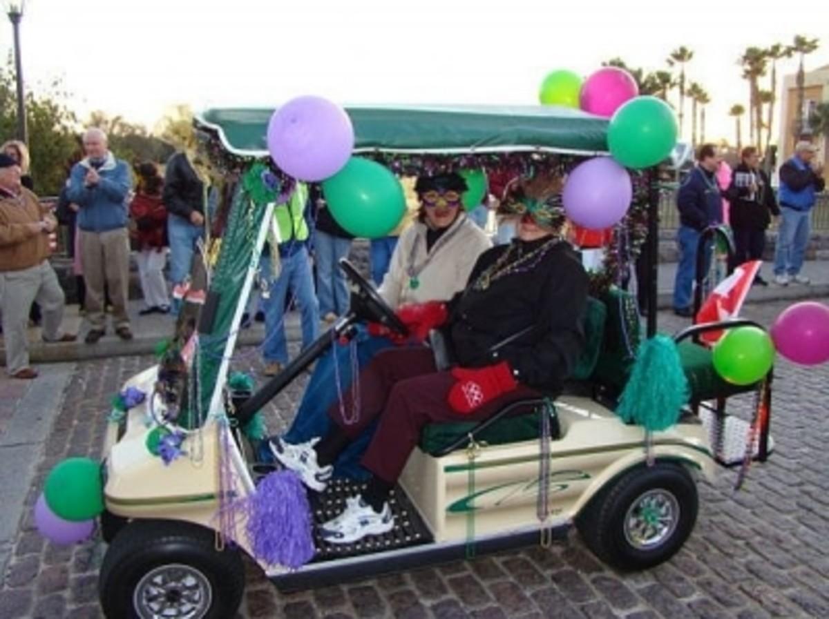 Decorate a Golf Cart for a Mardi Gras Parade