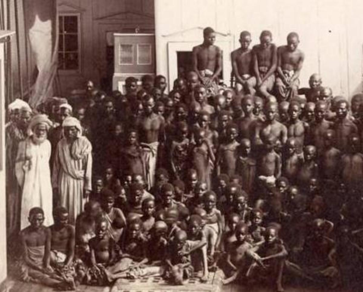 Emaciated boys and young men taken from mainland and sold in markets in the Arabian Peninsula. the Indian Ocean slave Trade was much older dating back to around second AD. Notice the Physical features of the Arabs