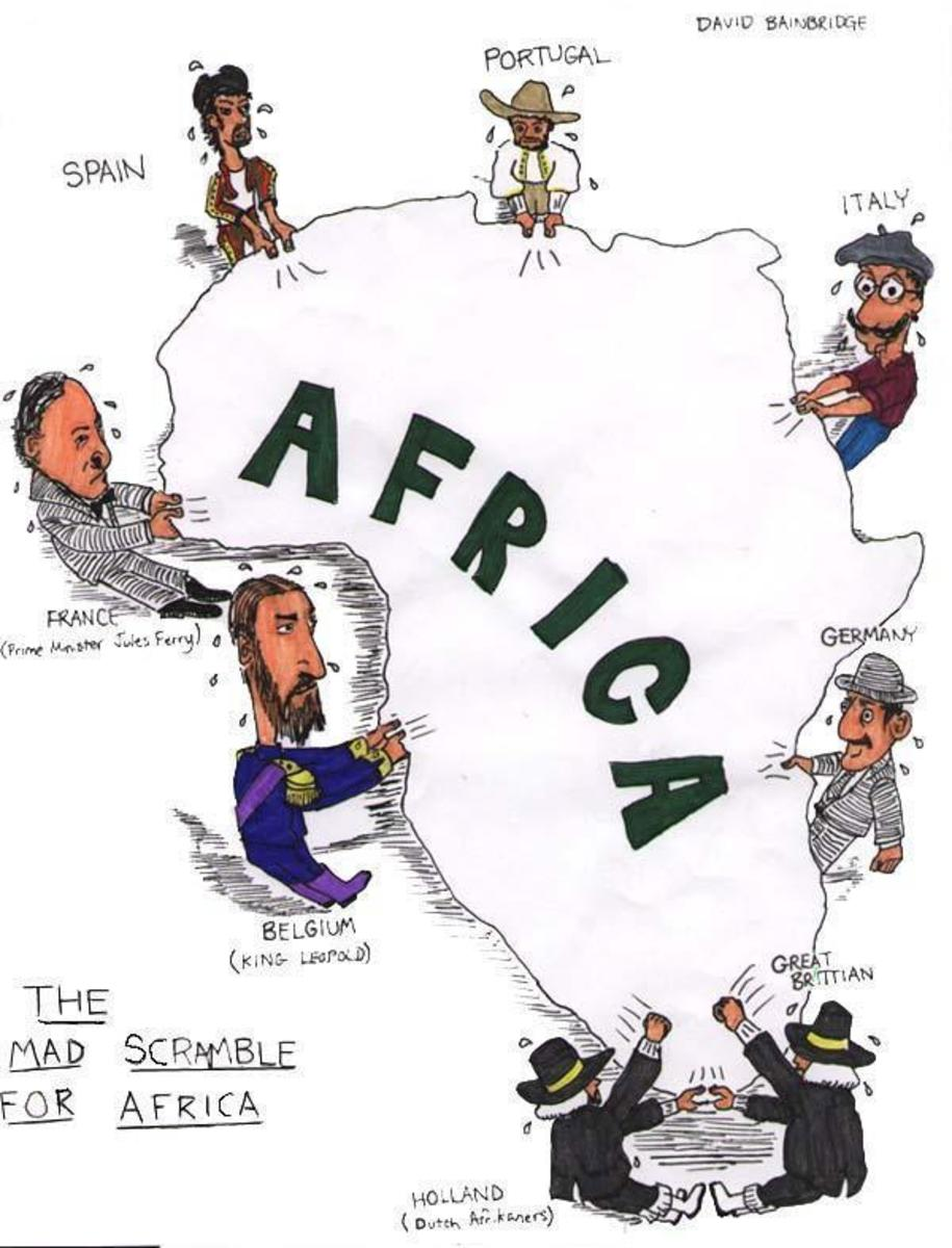 The scramble for Africa, in a cartoonish way, but accurate depiction of history and how and where the Europeans selected their cuts of the continent