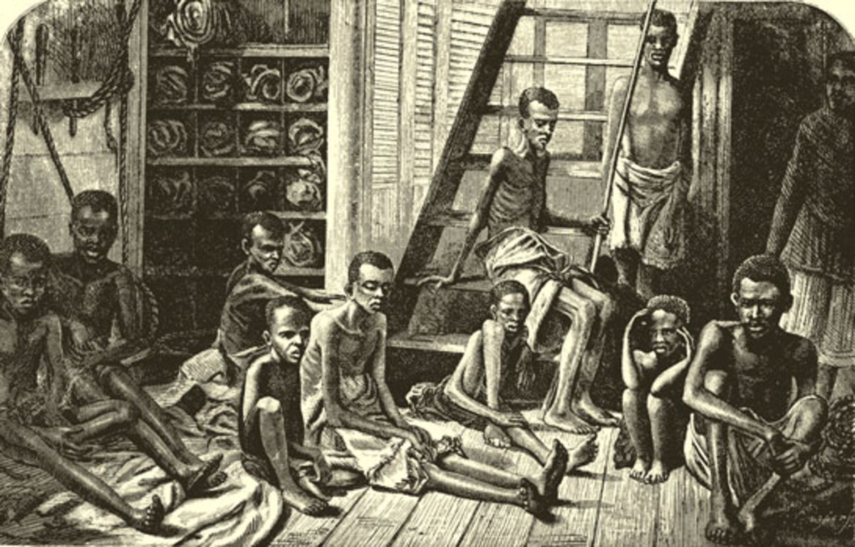 Indian Ocean: East African Slaves taken aboard the Dutch HMS from an Arab dhow, 1 November 1868