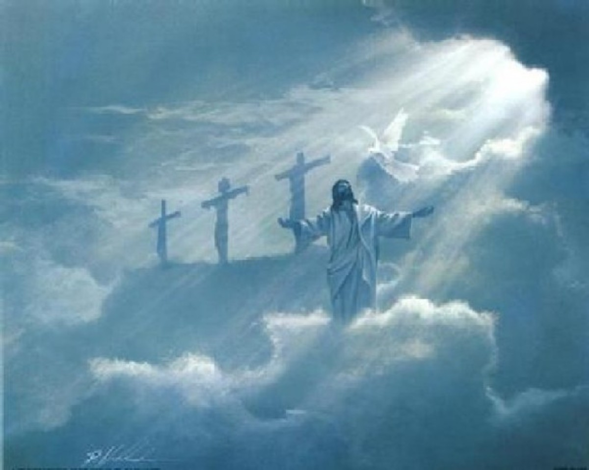 Rendering of Jesus Christ in the Clouds with a Ray of Sun Light and Three Crosses in the Background