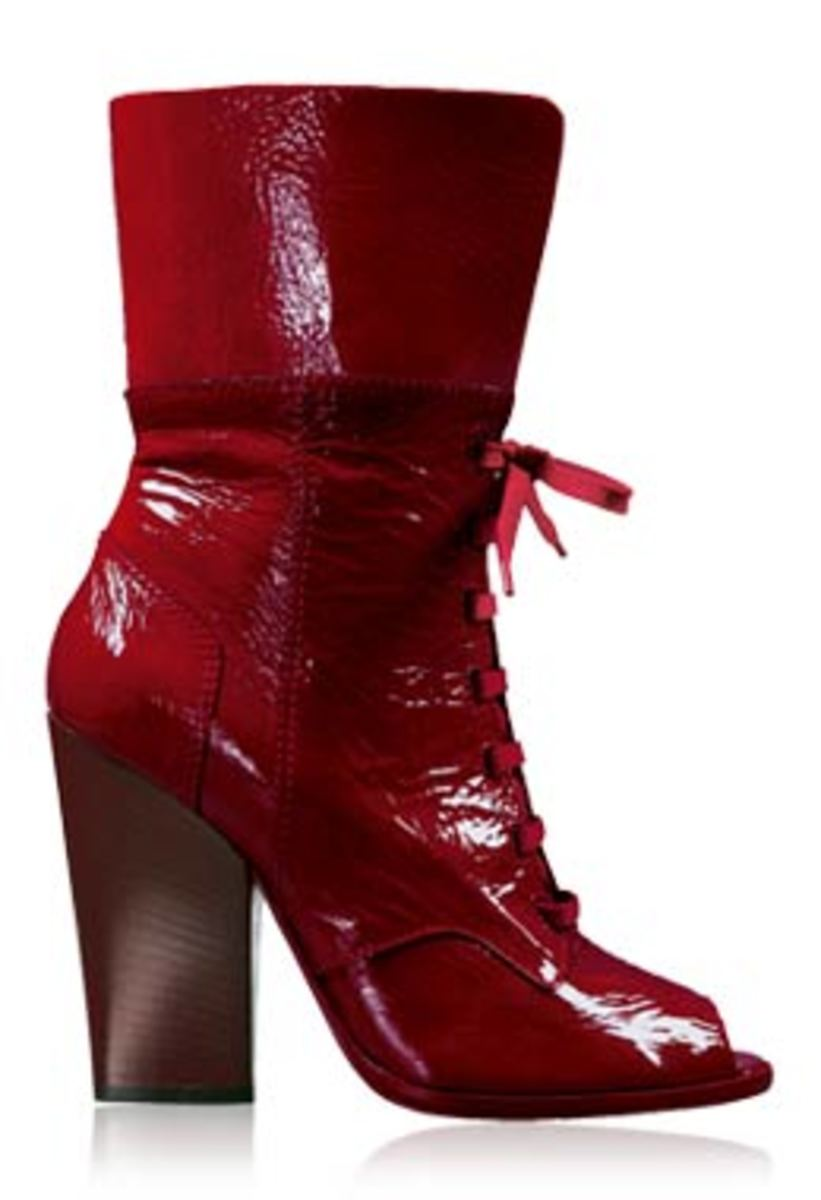 Dolce & Gabbana Red Patent Peeptoe Boots with lace up front