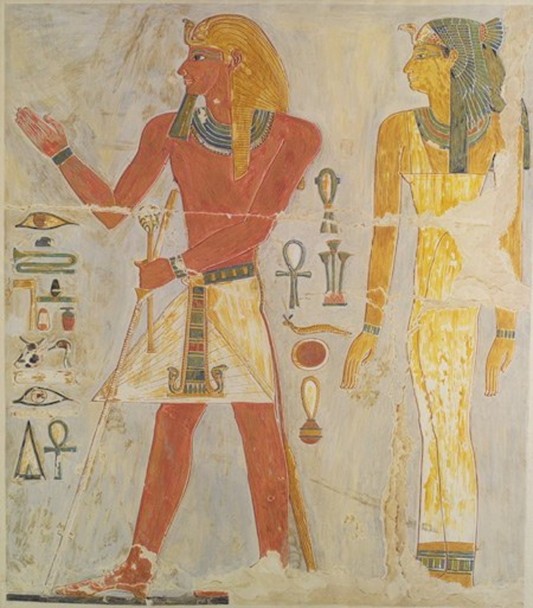 Pharaoh Thutmose I and his daughter Thermuthis, who according to Hewish Hstorian Josephus, found Moses amongst the reeds, close to the Nile