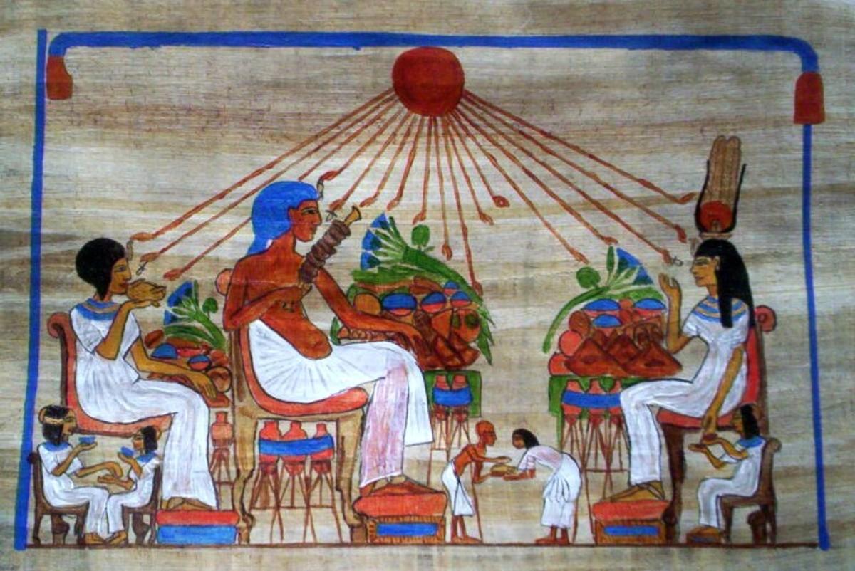 Akhenaton and Nefertiti entertaining Queen Tiye