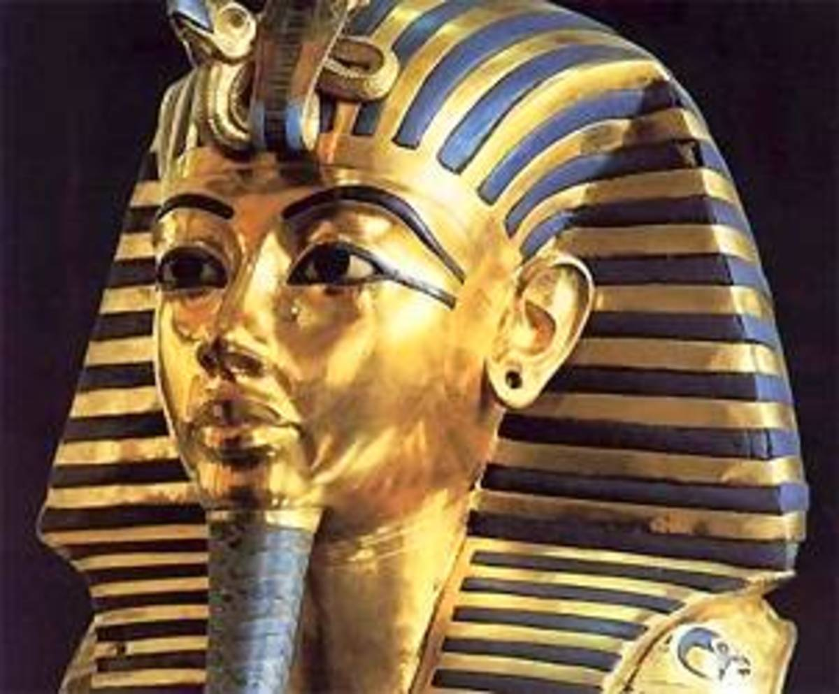 From the sarcophagus of Tutankhamun found with his rich Loot in his Tomb.