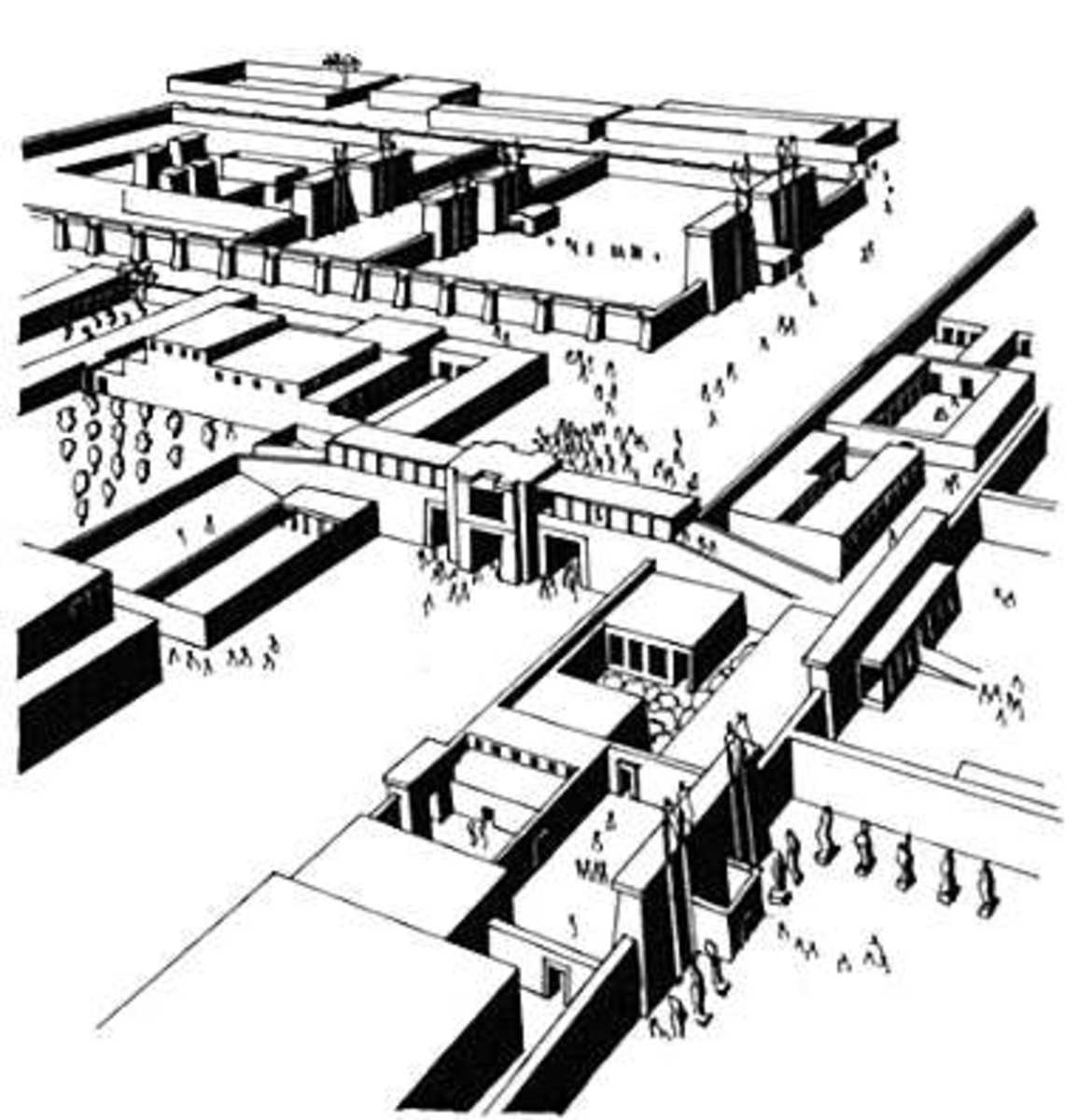 An artist  Sketch of how the Tell El Amarna complex looked like
