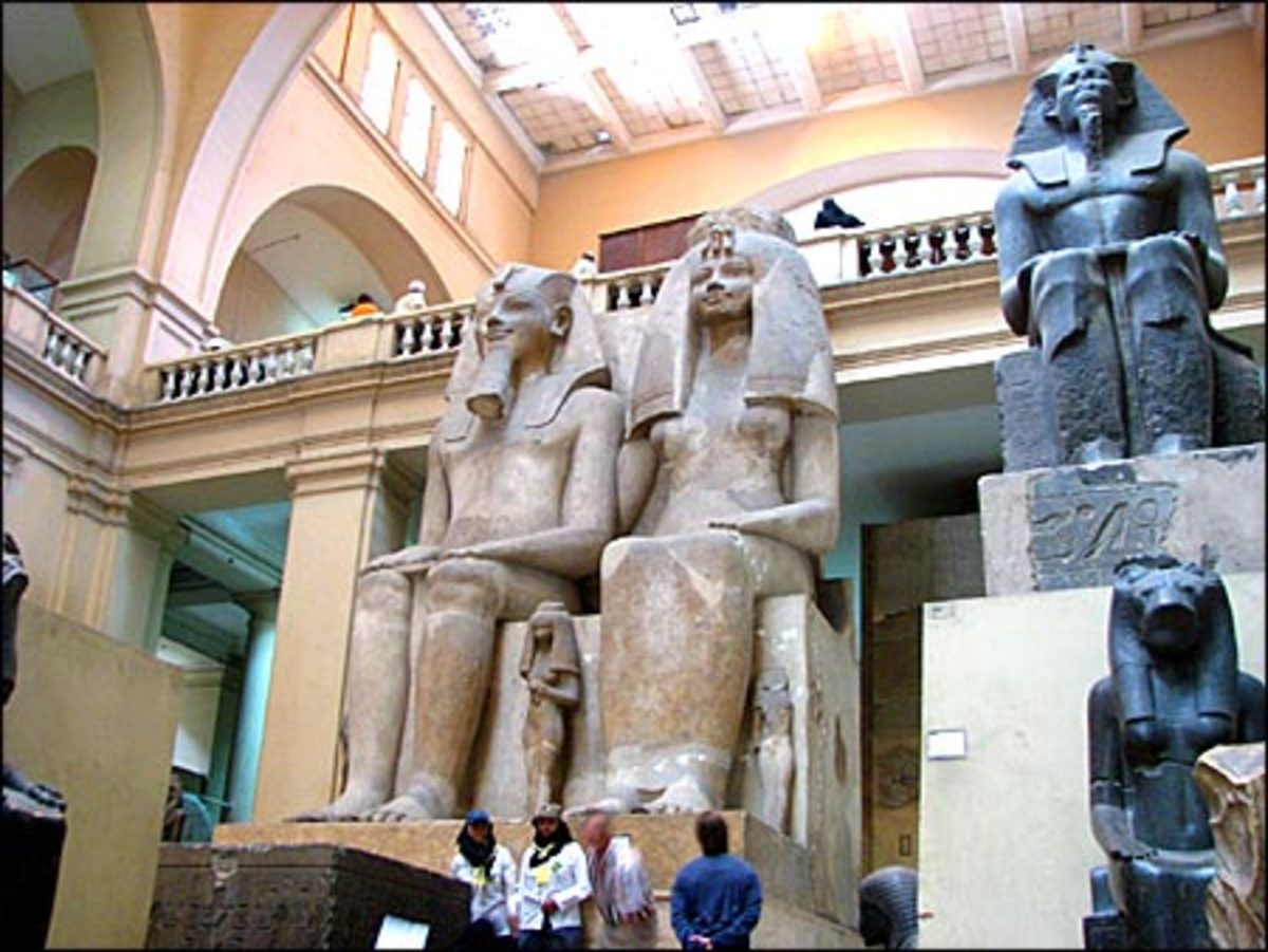 Amenhotep III and Queen Tiye at the Upwawet Exhibit, at the Grand Egyptian Museum, near the Pyramids at Giza