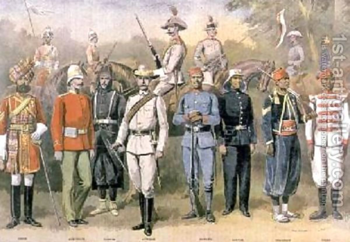 English colonial armies in their respective uniforms in celebration of the jubilee of Queen Victoria 21 June 883