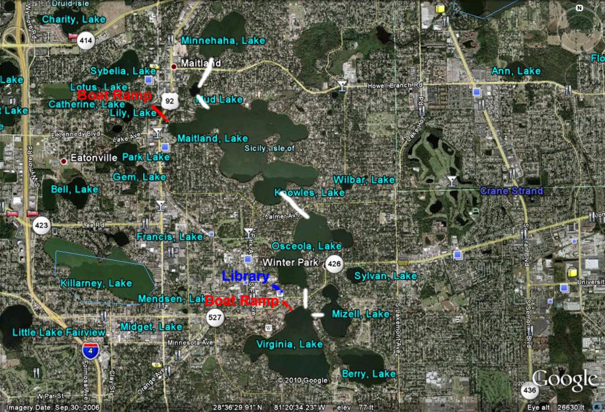 Map with boat ramps, library, and canals labeled. The white lines connecting the lakes are where the canals are.