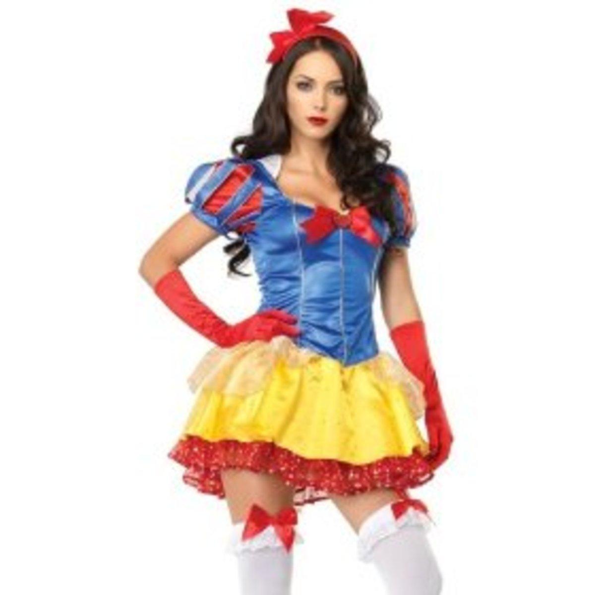 Sexy взрослых женщин Хеллоуин костюм Белоснежка платье вместе с Бантик и.