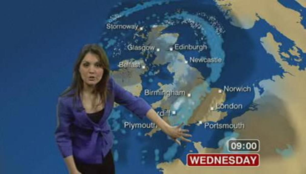 Laura Tobin BBC weather girl showing her lovely assets
