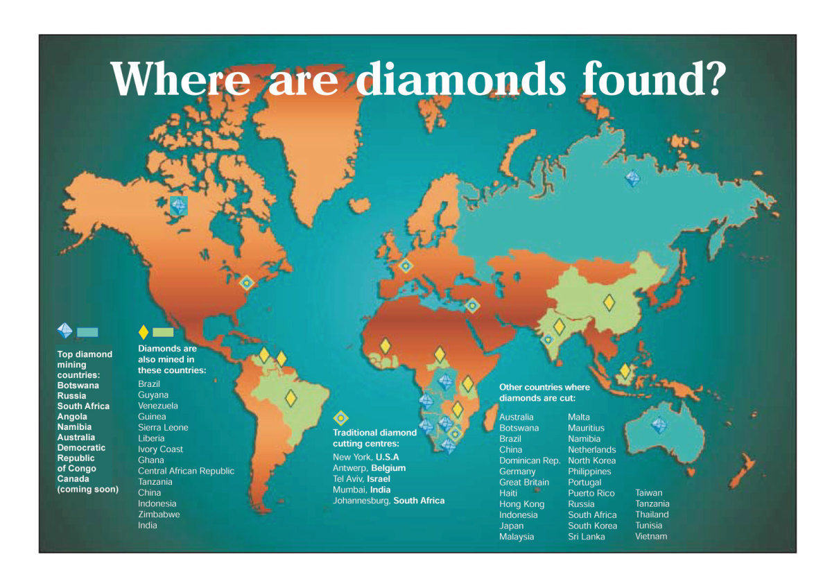 Map of the world's diamond producing areas from jcrs.com