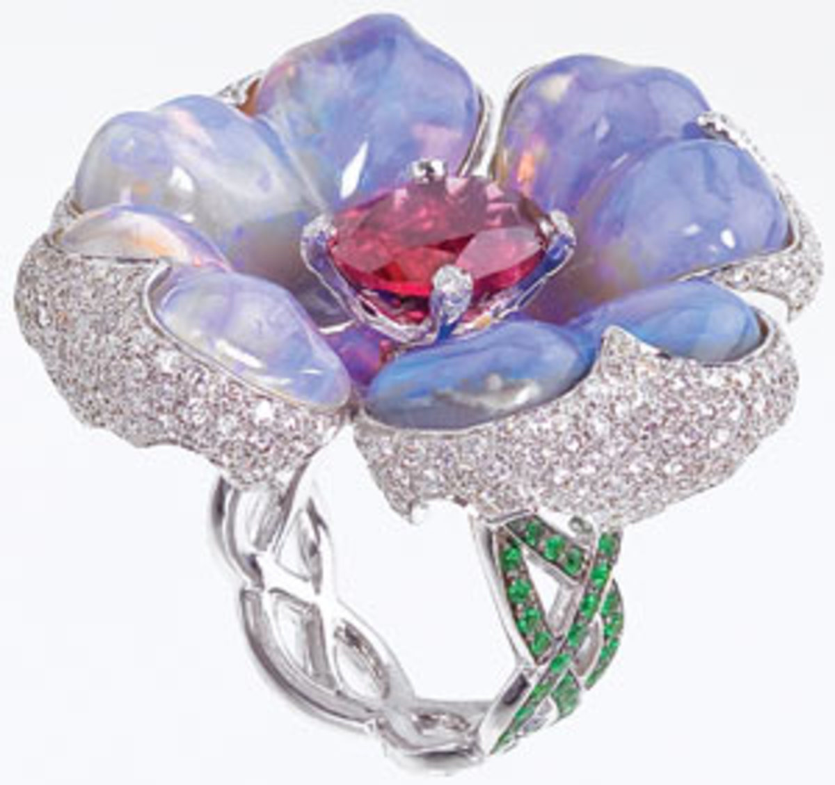 Carved opal and gemstone ring by Katherine Jetter