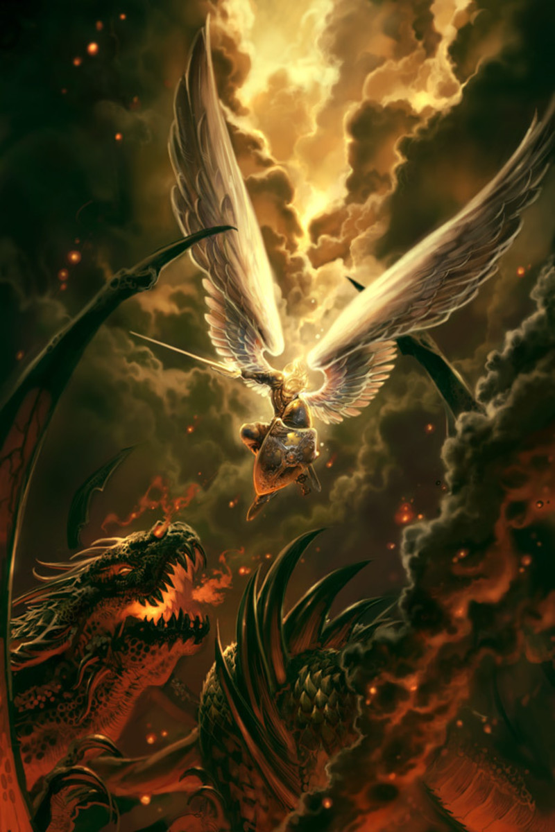 Image depicting battle between Lucifer and Archangel Michael