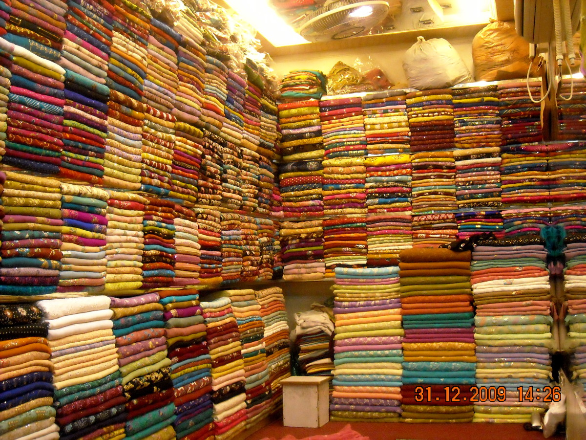 Inside one cloth shop...you buy material here and then get it stitched/tailor made to your size!