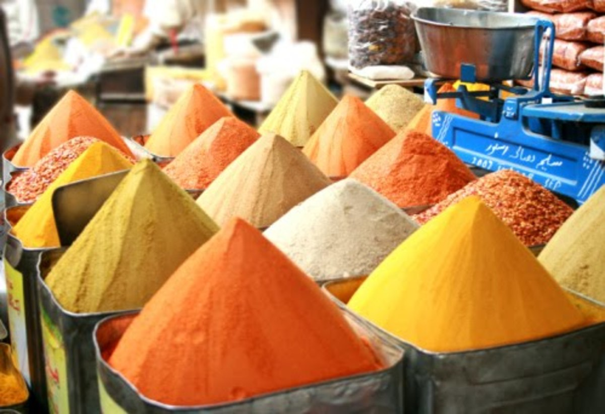 spices, grains and pulses displayed for sale