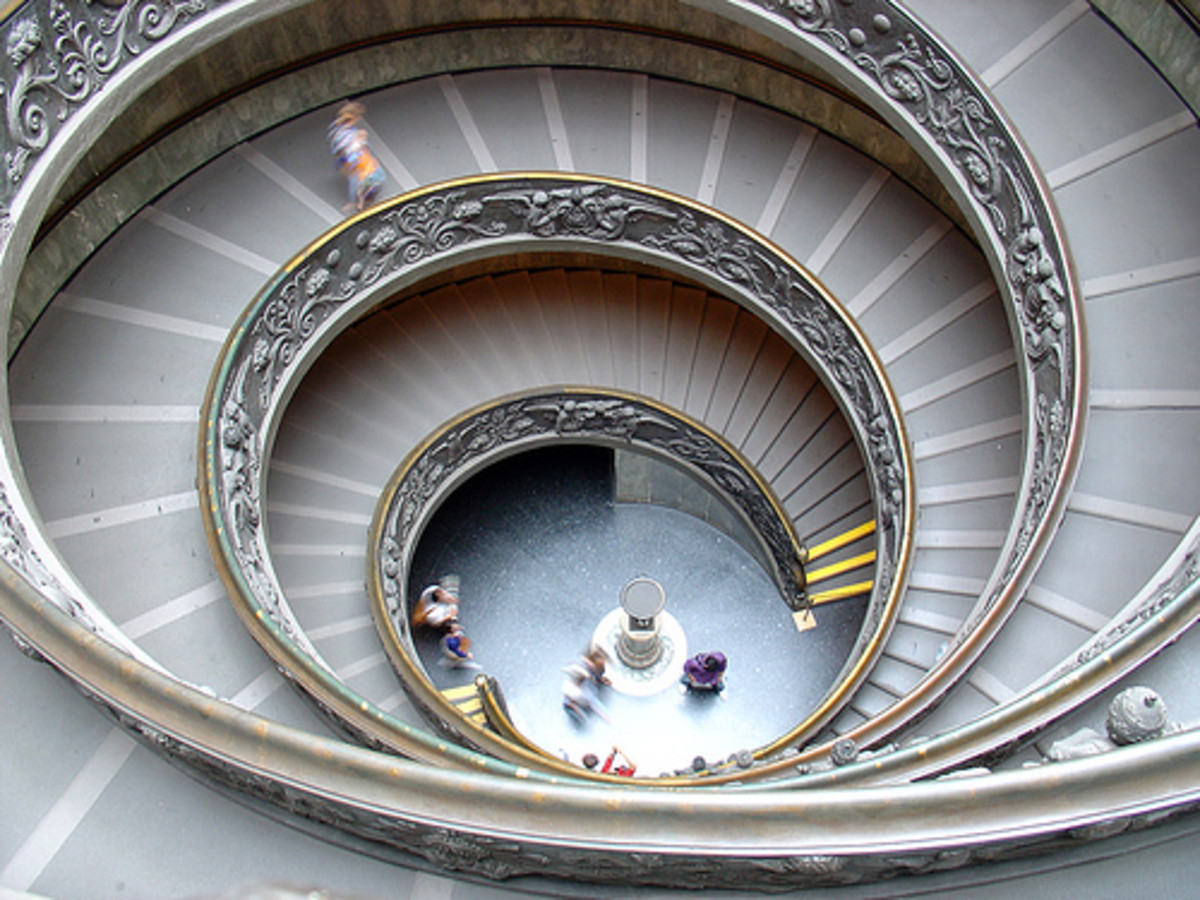 Spiral shape in staircase