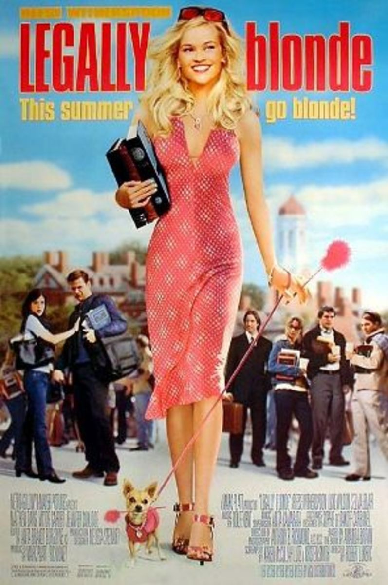 Reese witherspoon as Elle Woods in Legaly Blonde dones a pink colored clothes as well as her dog   Color Your Day : The Benefits of Color Therapy