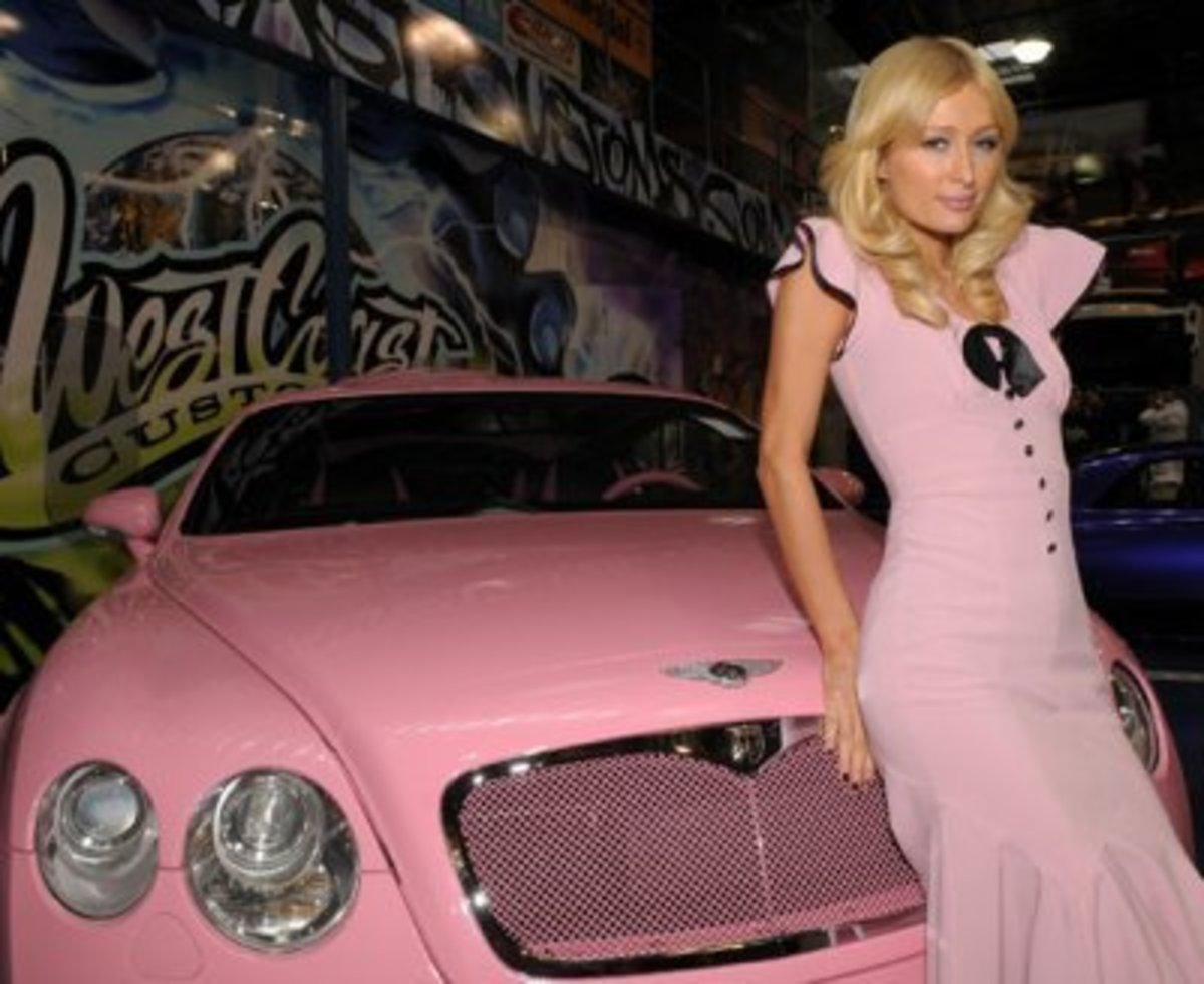 Paris Hilton and her pink Bentley  Color Your Day : The Benefits of Color Therapy