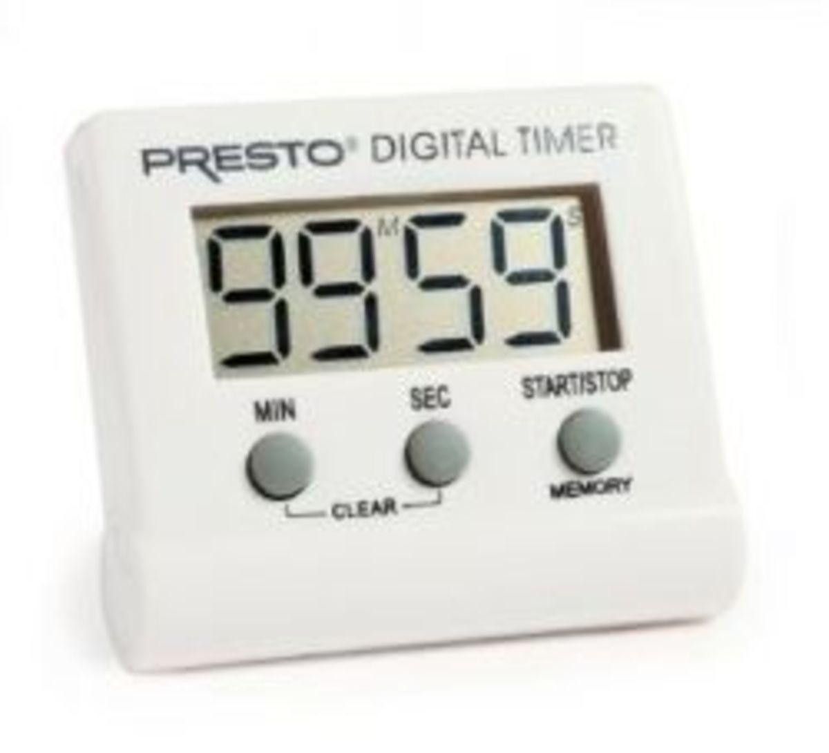 Image credit: http://www.amazon.com/Presto-04213-Electronic-Digital-Timer/dp/B001CQG618/ref=sr_1_1?ie=UTF8&qid=1348062178&sr=8-1&keywords=digital+timer