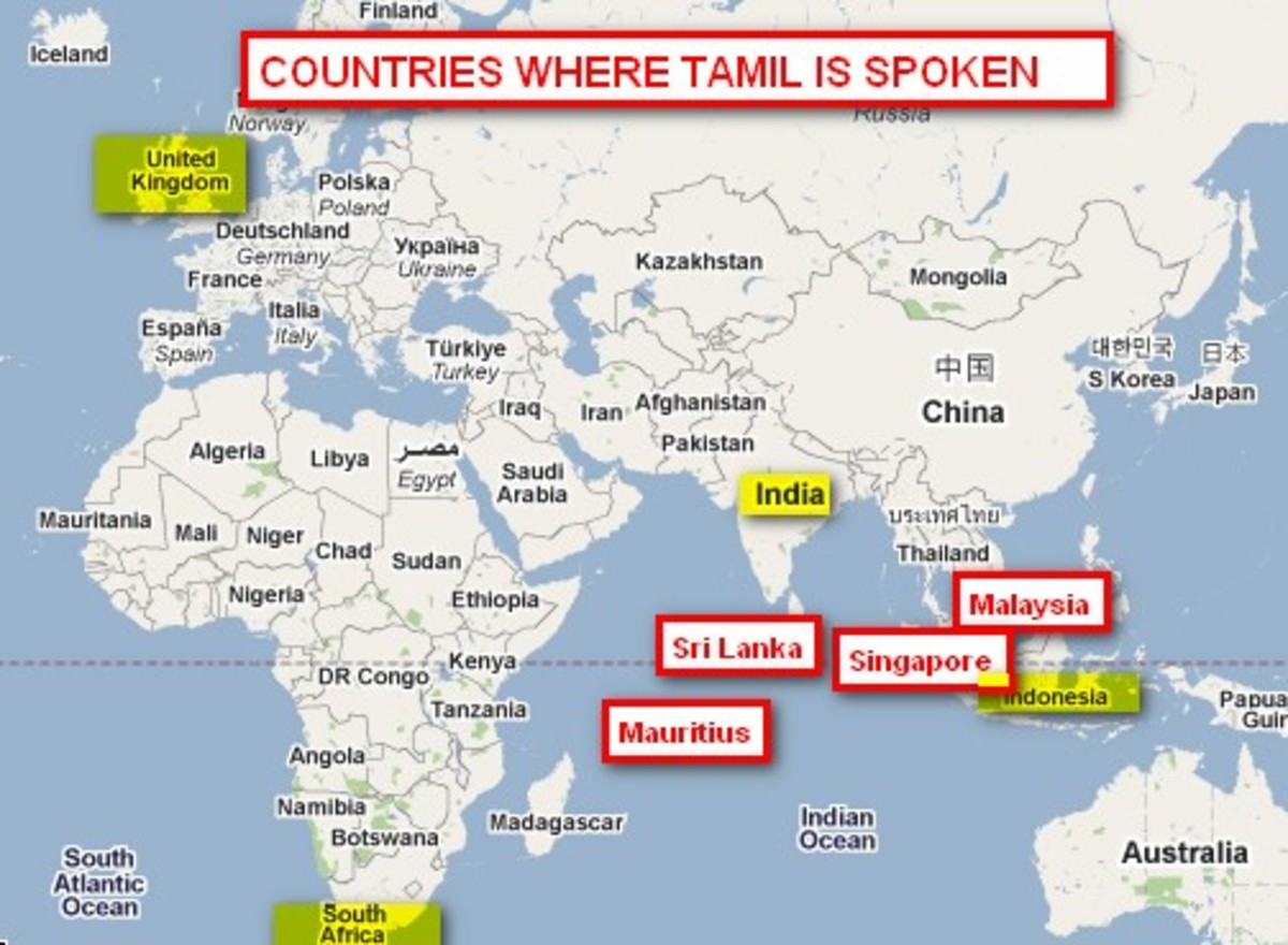 Tamil language ancient language world map of major countries where tamil is spoken gumiabroncs Image collections