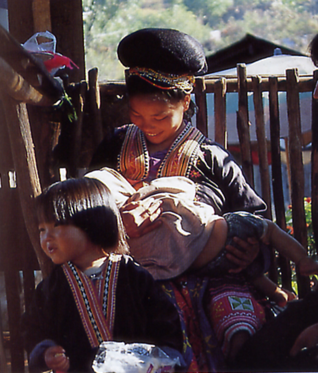 Hmong Family in Traditional Dress
