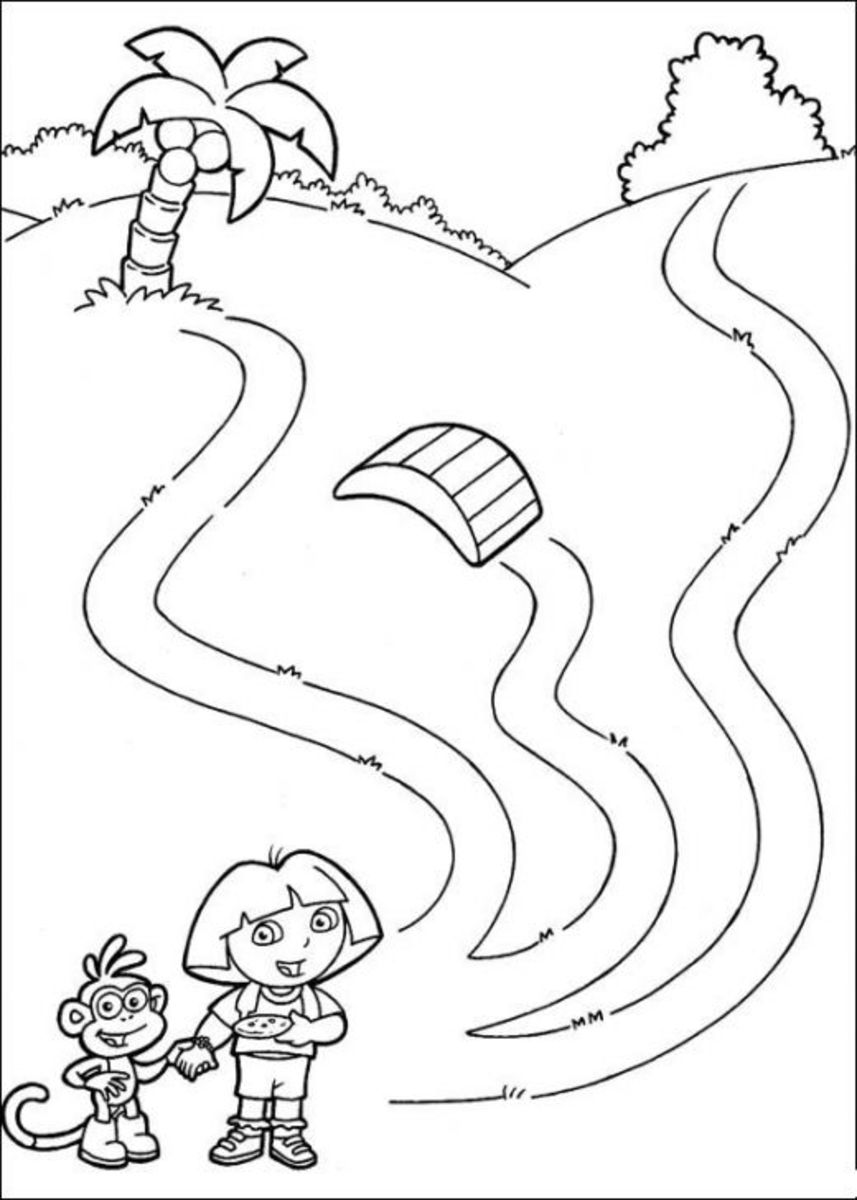 Dora the Explorer Kids Coloring Pages with Colouring Pictures to Print